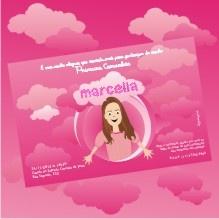"""Convite com tema """"nuvens""""  para festas e comemorações de Primeira Comunhão. Www.mybabyface.com.br"""