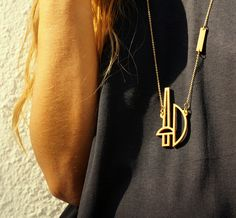 ares necklace // wooden pendant - Ares, God of War, has been identified with violence and force. Get ready to attack with Ares's spear and shield! Arrow Necklace, Gold Necklace, God Of War, Tower, Pendant, Gift, Accessories, Design, Gold Pendant Necklace