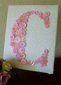 Craft idea: Baby Girl Nursery Button Monogram Letter by letterperfectdesigns | Kelly's DIY Blog