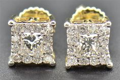 Diamond Studs Mens Ladies 14K Yellow Gold Princess Cut Solitaire Earrings 1.20Ct #Giftjewelry22 #Stud