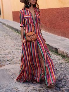 d6dc0e9f08a Bohemia Striped Shirt Maxi Dress