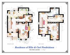 Residence Of Ellie U0026 Carl Fredricksen From Disney/Pixar Film UP : Artist  Iñaki Aliste Lizarralde Recreated The Floor Plans For These TV Homes And  The ...