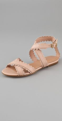 See by Chloe Scallop Ankle Wrap Flat Sandals | SHOPBOP