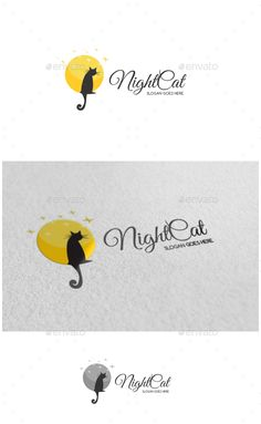 Night Cat Logo - Animals Logo Templates
