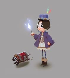 ArtStation - young witch, her chest and some mobs, Sergei Ryzhov