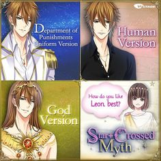 """ceceanimexxx: """"☆Star-Crossed Myth☆ """"How do you like Leon best?"""" He looks good normally too, but he's even sexier in human clothes! And of course he looks just divine as a god♡ Which Leon is your. Hot Anime Boy, Cute Anime Guys, Anime Style, Fire Emblem Azura, Star Crossed Myth, Voltage Games, Leo Star, Voltage Inc, My Romance"""