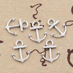30 pcs Charms jangkar laut 19*15mm handmade Craft pendant membuat fit, Vintage Tibet Perak, DIY untuk gelang kalung