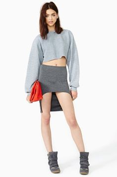 #nastygal.com             #Skirt                    #Shape #Skirt #Gray       Shape Up Skirt - Gray                               http://www.seapai.com/product.aspx?PID=1411114