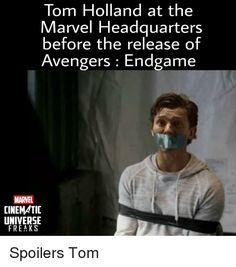 Tom Holland at the Marvel Headquarters Before the Release of Avengers Endgame MARVEL CINEMATIC UNIVERSE FREAKS | Avengers Meme on awwmemes.com