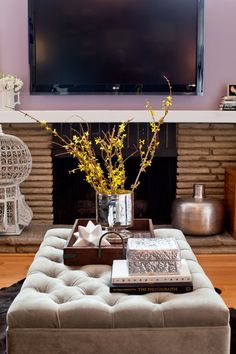 Chic Styling with accessories on the ottoman/coffee table