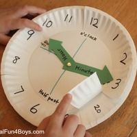 Math > Time/Date Use paper plates to make a clock for teaching time Teaching Time, Teaching Math, Teaching Clock, Learning Time Clock, Teaching Methods, Math Classroom, Kindergarten Math, Fun Math, Math Activities