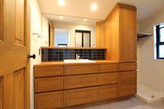 LAVATORY/POWDER ROOM/TOILET/REST ROOM/TILE/洗面室/トイレ/洗面台/洗面器/タイル/フィールドガレージ/FieldGarage Inc./#リノベーション Powder Room, Toilet, Kitchen Cabinets, Home Decor, Flush Toilet, Decoration Home, Room Decor, Powder Rooms, Cabinets