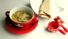 Flaedlisuppe ~ traditional Swiss Soup with crepes (and a vegetable filling for crepes)