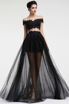 New Arrival Black Lace Prom Dress A Line Long Prom Gowns Custom Made Tulle Women Party Gowns - Long prom dresses 2 Piece Homecoming Dresses, Royal Blue Prom Dresses, Long Prom Gowns, Gala Dresses, Cheap Prom Dresses, Formal Evening Dresses, Dress Long, Formal Prom, Dress Formal