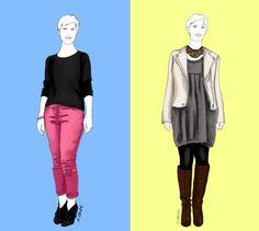 Zwei Outfits, zwei unterschiedliche Figuren: Ein Vorher-Nachher-Experiment für die A-Figur.