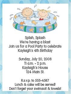 Swimming Pool Party Birthday Party by ExpressionsPaperie on Etsy, $11.00