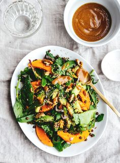 Butternut squash & avocado salad with shoy & tahini sauce