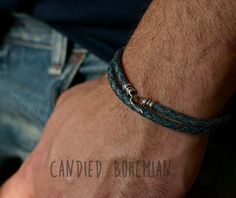 Check out this Cool Denim Leather Bracelet- Bohemian MEn Jewelry, Boho MEn, Mens Style, Mens Fashion, MEns Accessories, Yoga Men, Gift For Him, Mens Style, MEns Dope Things, in my Etsy shop https://www.etsy.com/listing/398790329/sterling-silver-mens-leather-bracelet Mens Fashion Jewelry, Mens Style, Mens Leather Bracelet, Mens Bracelets, Braided Leather Bracelet, menswear, men with style, dopey, Mens jewelry, jewellery men,  Mens street fashion, Mens street style, dope men