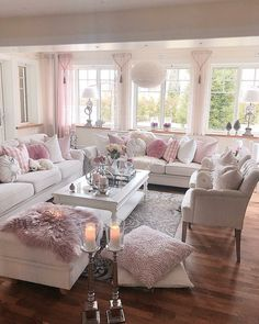 ♡ breakfast at chloe's ♡ romantic shabby chic living room, c Home Living Room, Pink Living Room, Chic Living Room, Home, Living Room Decor Apartment, Apartment Living Room, Apartment Decor, Home And Living, Shabby Chic Living