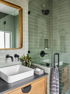 The perfect place to start the day 🌿 - Tile shown: Rosemary - Design: - 📷: - Black Brick Fireplace, Design Your Own Home, Fireclay Tile, Bathroom Floor Tiles, Bathroom Plumbing, Concrete Bathroom, Shower Tiles, Bathroom Faucets, Handmade Tiles