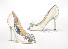 Introducing Custom Fashion Shoe Illustrations! -shoe by Badgley Mischka Bridal shoes or any favorite pair!     by ForeverYourDress www.foreveryourdress.com