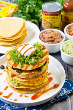 Easy Seven Layer Dip Tostada Stack #7LayerDip #Mexican #party