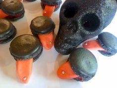 Diary of a Mad Hausfrau: Pierced Tongue Halloween Black Macarons
