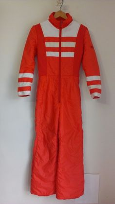 Vintage 70s Max Frost Minneapolis Womens Ski Suit Snowsuit Size S Orange White #MaxFrost