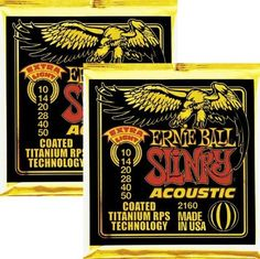 Ernie Ball 2160 Coated Slinky Acoustic Strings Extra Light 2 Pack by Ernie Ball. $18.99. This money saving 2-pack of Ernie Ball Slinky Acoustic Guitar Strings features patented coated Titanium RPS Technology that resists rust and grime for bright and powerful tone time after time.Ernie Ball's titanium coated 2160 Slinky Acoustic strings are stronger and longer-lasting than traditional strings-either coated and uncoated strings. That's thanks in part to an exclusive protect...