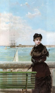 An unusually candid scene chosen to paint. Love the lug/lateen peeking up over the sea wall.    An elegant Woman at St Malo  by Vittorio Matteo Corcos