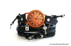 Black and Orange Wrap , Womens leather watch, Bracelet Watch, Wrist Watch with key and locket charms