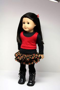 American Girl Doll ClothesRuffles Skirt Shirt by sewurbandesigns, $24.00