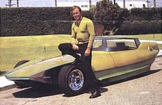"""Kirk with Gene Winfield's """"Reactor"""" Custom Car, Additionally, Reactor was Catwoman's ride in the Batman TV Series and also appeared in Bewitched. Hot Wheels Cars, Hot Cars, Classic Hot Rod, Classic Cars, Gene Winfield, Batman Tv Series, Star Wars, Buick Riviera, William Shatner"""