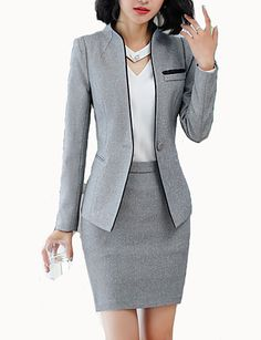 Women s work business spring fall regular blazer solid colored stand long sleeve polyester black gray xxl xxxl xxxxl slim Blazer Outfits, Blazer Fashion, Casual Outfits, Blazer Dress, Sleevless Blazer, Dress Outfits, Casual Blazer, Blazer Suit, Casual Wear