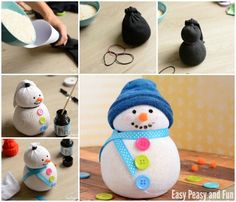 No-Sew Sock Snowman Craft for Your Little Ones