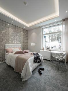 Stylish indirect lighting really creates the atmosphere in bedroom! Tyylikäs epäsuora valo tuo makuuhuoneeseen tunnelmaa!