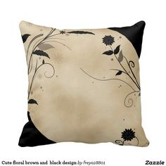 Cute floral brown and  black design throw pillow