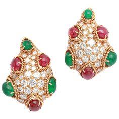 Van Cleef & Arpels Emerald Ruby Diamond Gold Ear Clips 1