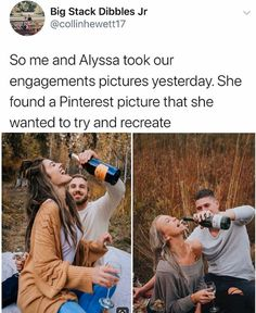 If you don't Instagram your engagement, did you even get engaged? Alyssa Snodsmith and Collin Hewett decided to use a Pinterest photo for inspiration. The couple made a pour attempt at recreating the pic, though. Honestly, we like theirs better. Engagement Couple, Engagement Pictures, Photo Fails, Photo Gold, About Facebook, Pinterest Photos, The Hard Way, Getting Engaged, Things To Think About