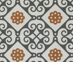 "Tiles are often used on floors, walls and even ceilings abroad—hot climates/cool tile. Certain patterns are ""native"" to Mediterranean countries. Think the Alhambra. Or Marrakesh. Or even the mosaics in Saint Mark's Basilica in Venice. This ""Majolica"" floor tile is made by Fap Ceramiche in Italy, but distributed world-wide."