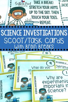 Get your students up and moving with this fun and engaging Science Investigations SCOOT game which includes 32 task cards with open-ended questions, all requiring critical thinking skills, and 8 cards with brain breaks. They are perfect for review or assessment. #scienceinvestigations #scienceexperiments #sciencetaskcards #scoot Elderly Activities, Dementia Activities, Science Activities, Science Experiments, Physical Education Games, Health Education, Physical Activities, Critical Thinking Activities, Critical Thinking Skills