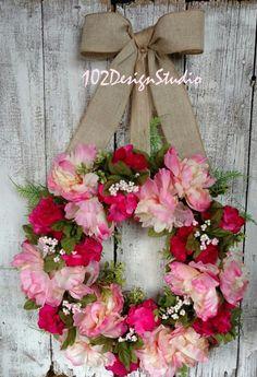 Pink Wreath Door Hanger Spring Wreath Elegant by 102DesignStudio