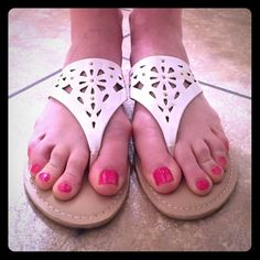 New Direction White Thong Sandals (New) White brand new sandals... Super cute :) new directions Shoes Sandals