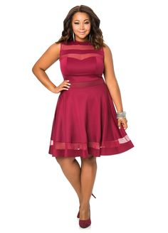 Mesh Cut Out Skater Dress Mesh Cut Out Skater Dress