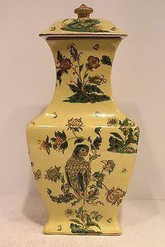Vintage Style Porcelain Rectangular Temple Jar Gold Gilt Parrot and Frog Pattern