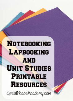 Notebooking  Lapbooking Unit Studies Homeschool Printable Resources