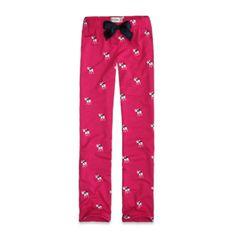 Abercrombie Kids Jane Flannel Sleep Pants in Pink.