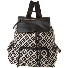 Madden Girl   Diamond Backpack ($50) ❤ liked on Polyvore featuring bags, backpacks, diamond backpack, black and white backpack, backpacks bags, madden girl and knapsack bags