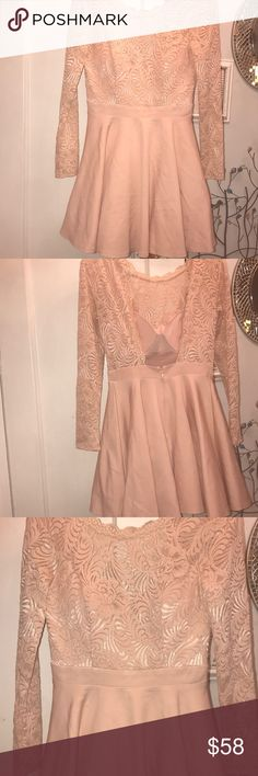 BEBE size 6 NWOT pale pink lace/ satin dress BeBe stunning cocktail dress: size 6 built in bra. Lace top which fastens on very top exposing your sexy back and a beautiful mid knee skirt bottom. Never been worn bebe Dresses Midi