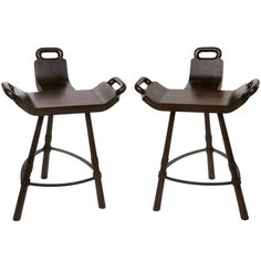 Pair of Primitive Birthing Chair Inspired Bar Stools | From a unique collection of antique and modern stools at https://www.1stdibs.com/furniture/seating/stools/